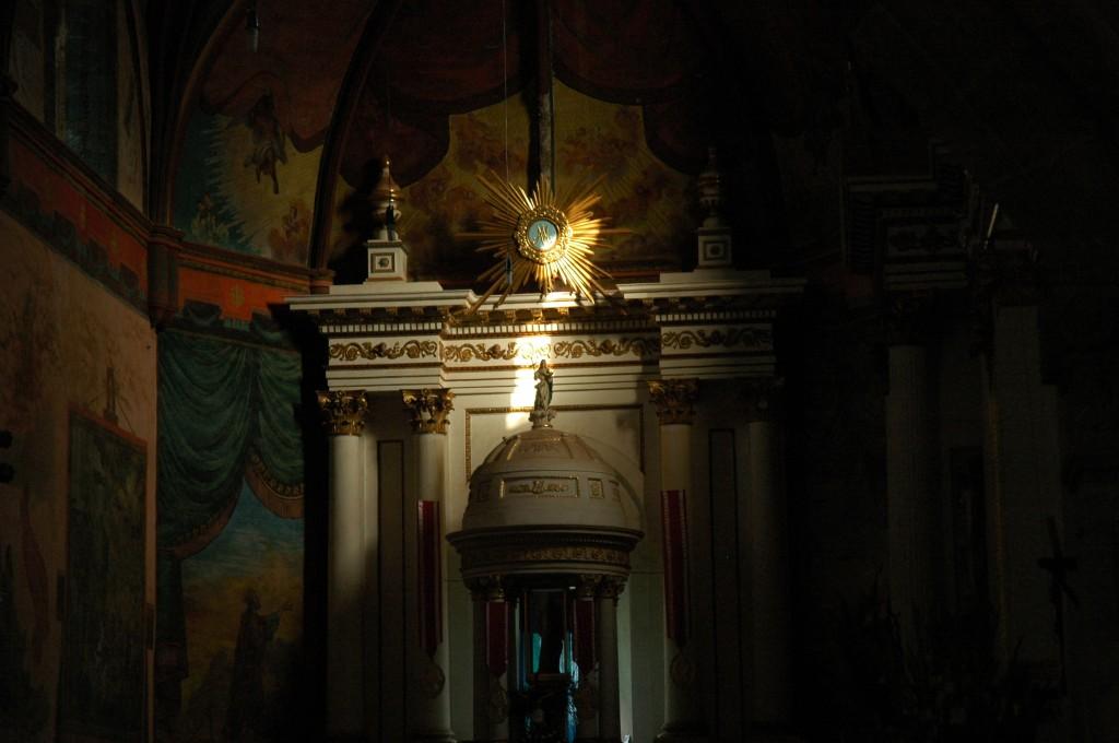 inside the church, sun